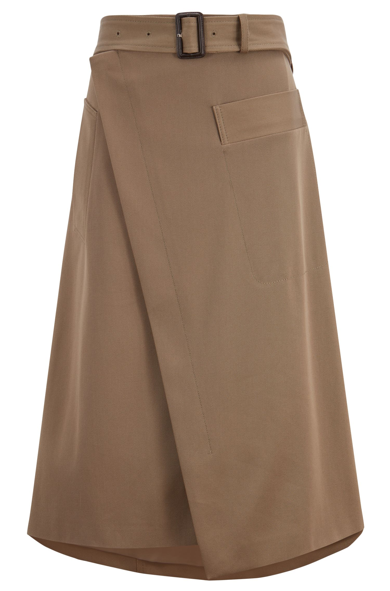 Relaxed-fit wrap skirt in twill with buckled belt, Brown