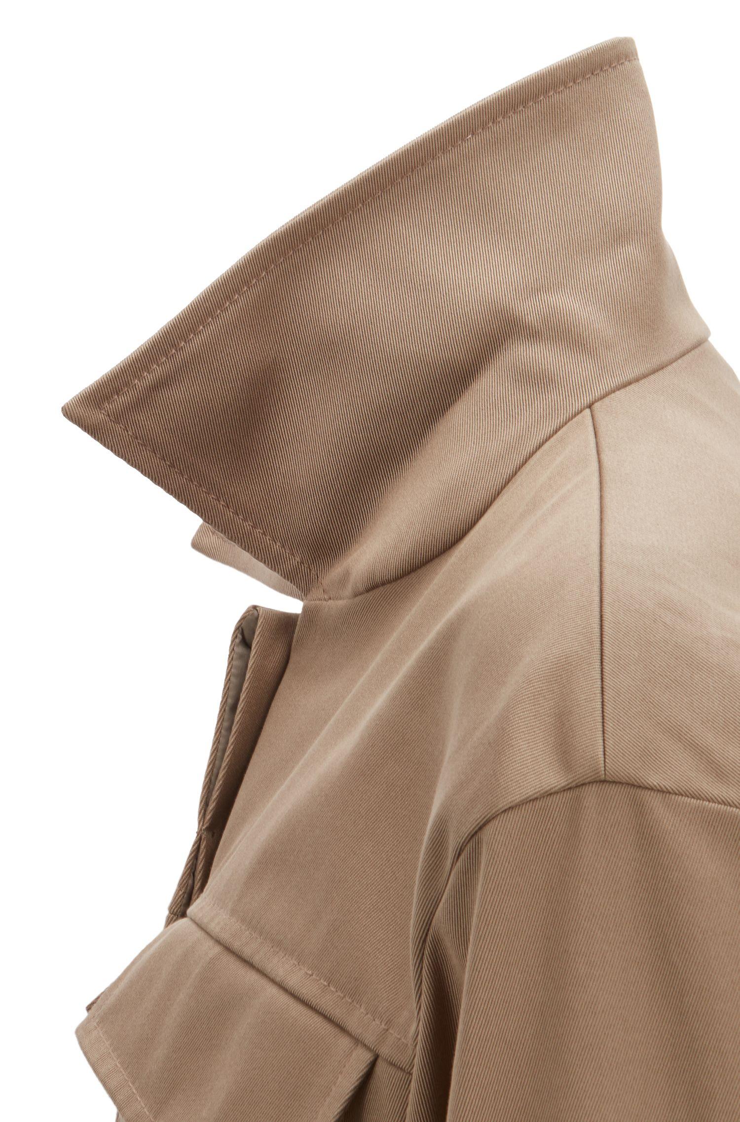 Chaqueta oversized fit en sarga de algodón italiana, Marrón claro