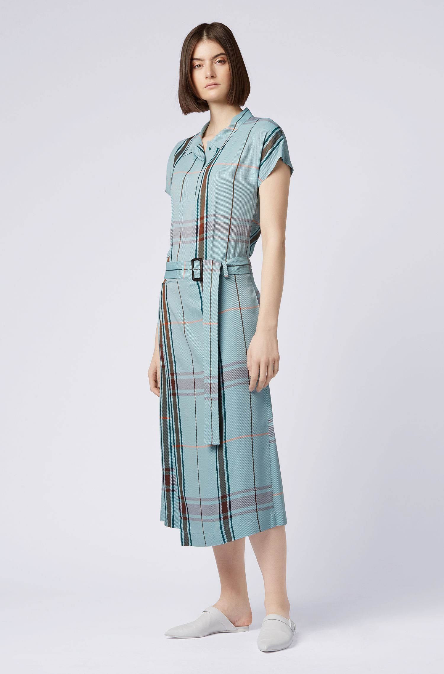 Relaxed-fit checked shirt dress with wrap skirt, Patterned