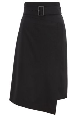 High-waisted asymmetric wrap skirt with buckle-close belt