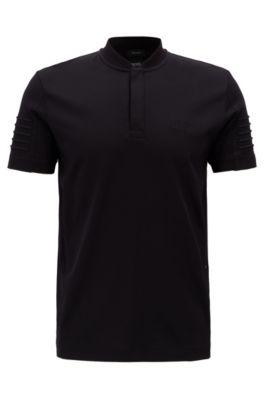 Poloshirt aus Baumwolle mit gestickten Streifen und Henley-Ausschnitt, Schwarz