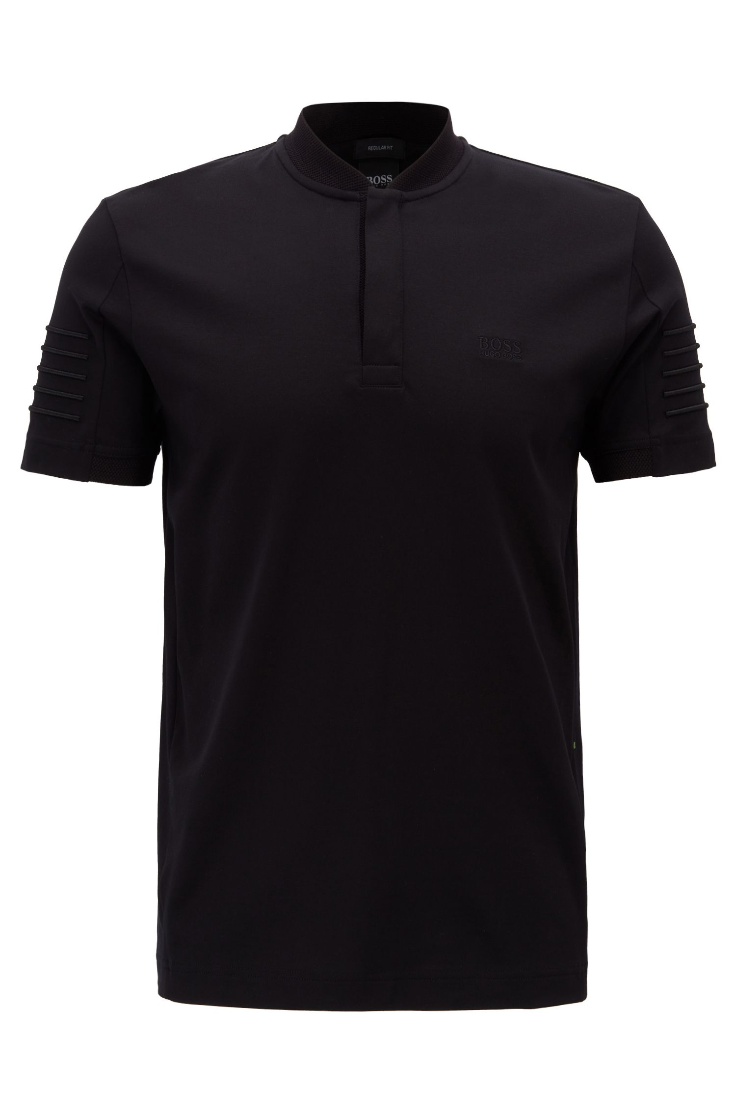 Henley-neck polo shirt with striped embroidery, Black