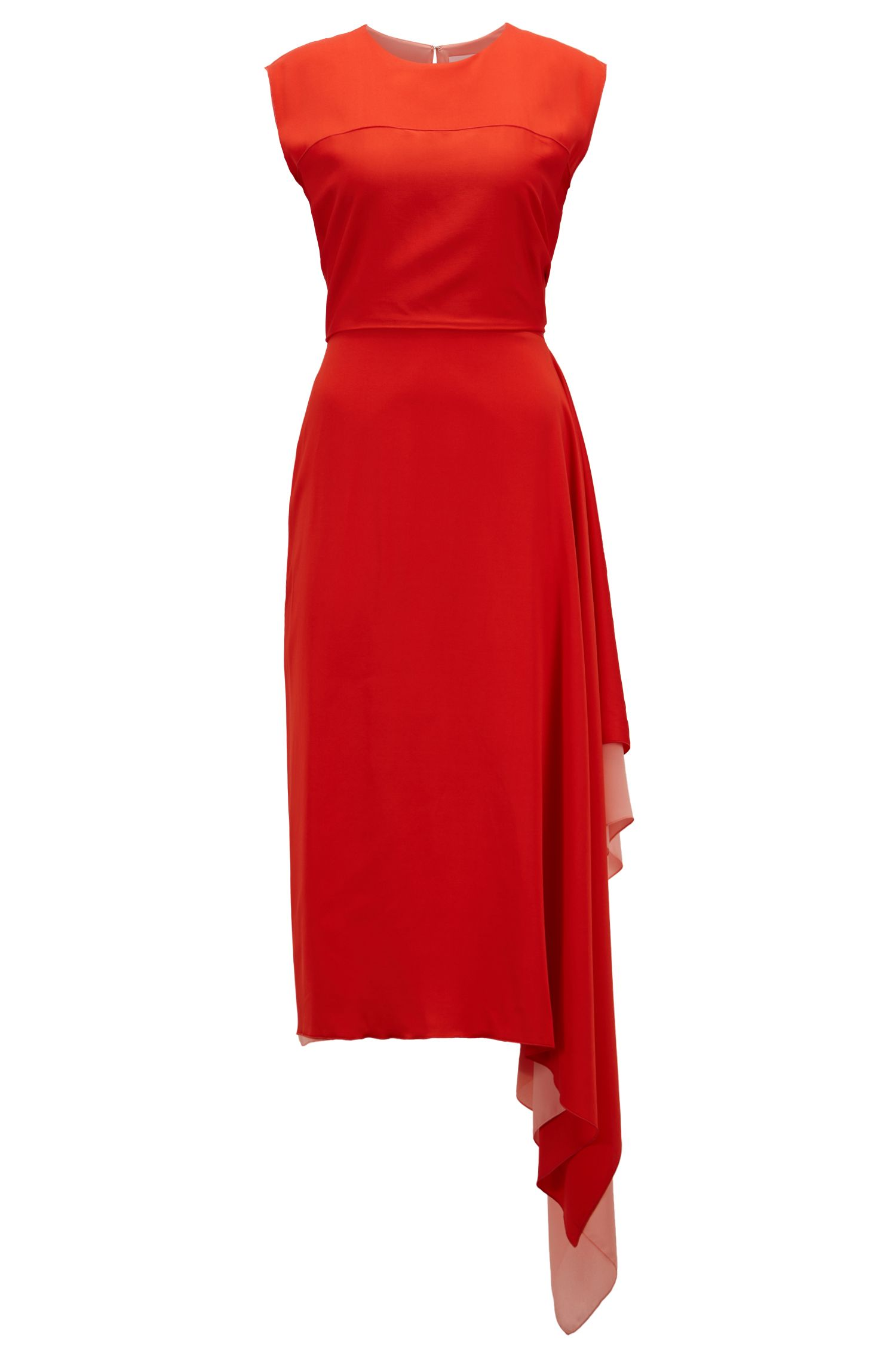Crepe-georgette dress with waterfall drape, Red