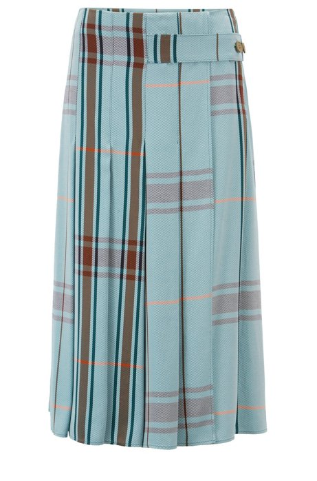 0910c2474 BOSS - Relaxed-fit A-line skirt in checked twill with pleats