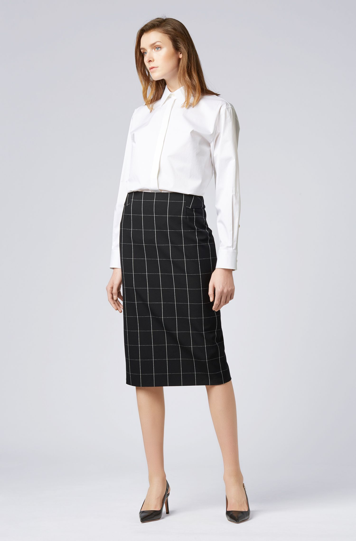 Checked pencil skirt in Portuguese stretch fabric, Patterned