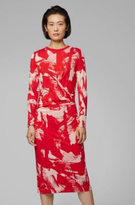 With Long Patterned Waist Dress Gathered Sleeved OiukZXP