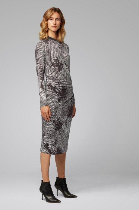 Gemustertes Langarm-Kleid mit geraffter Taille, Gemustert