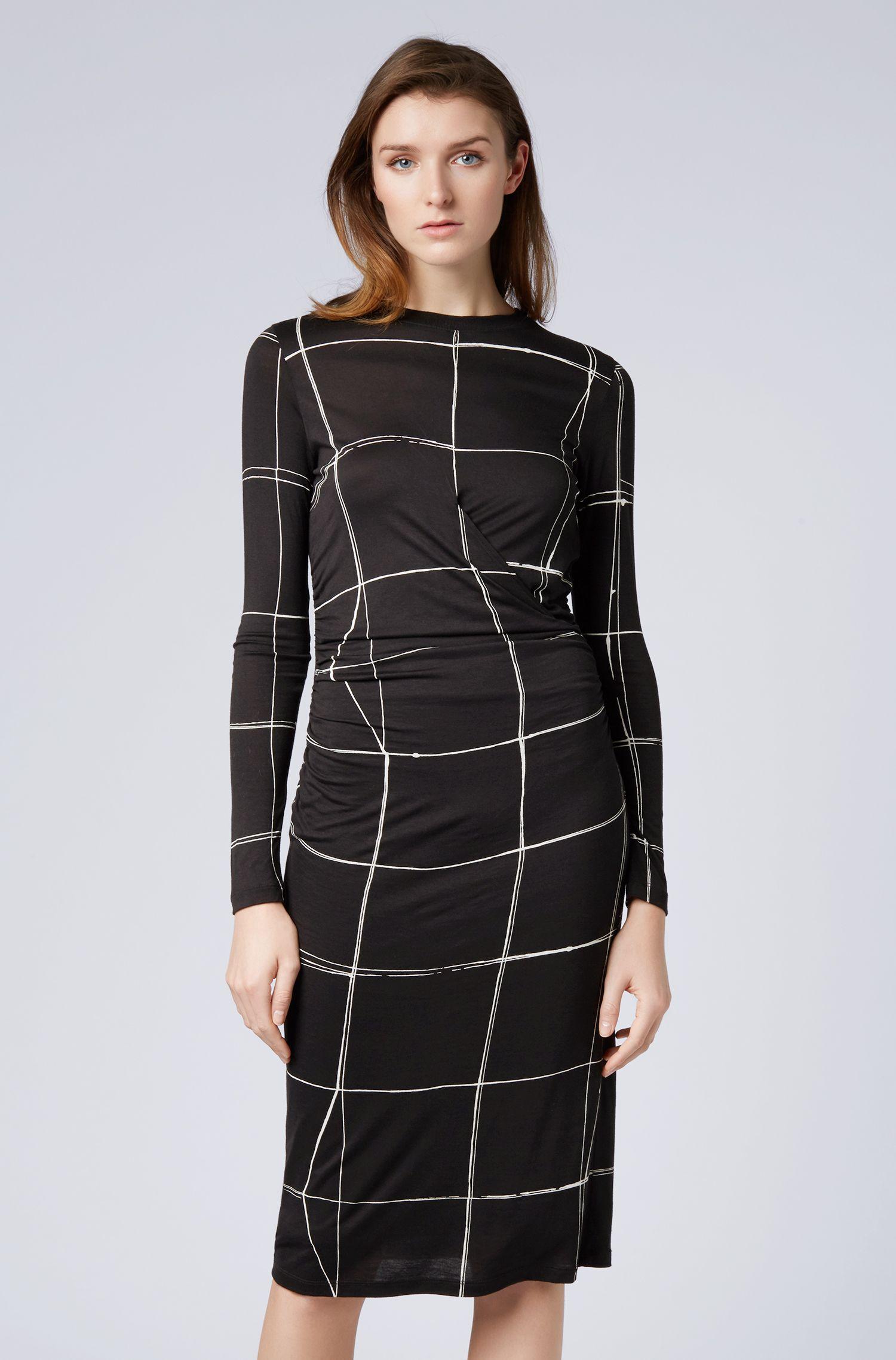 Kariertes Langarm-Kleid mit geraffter Taille, Gemustert