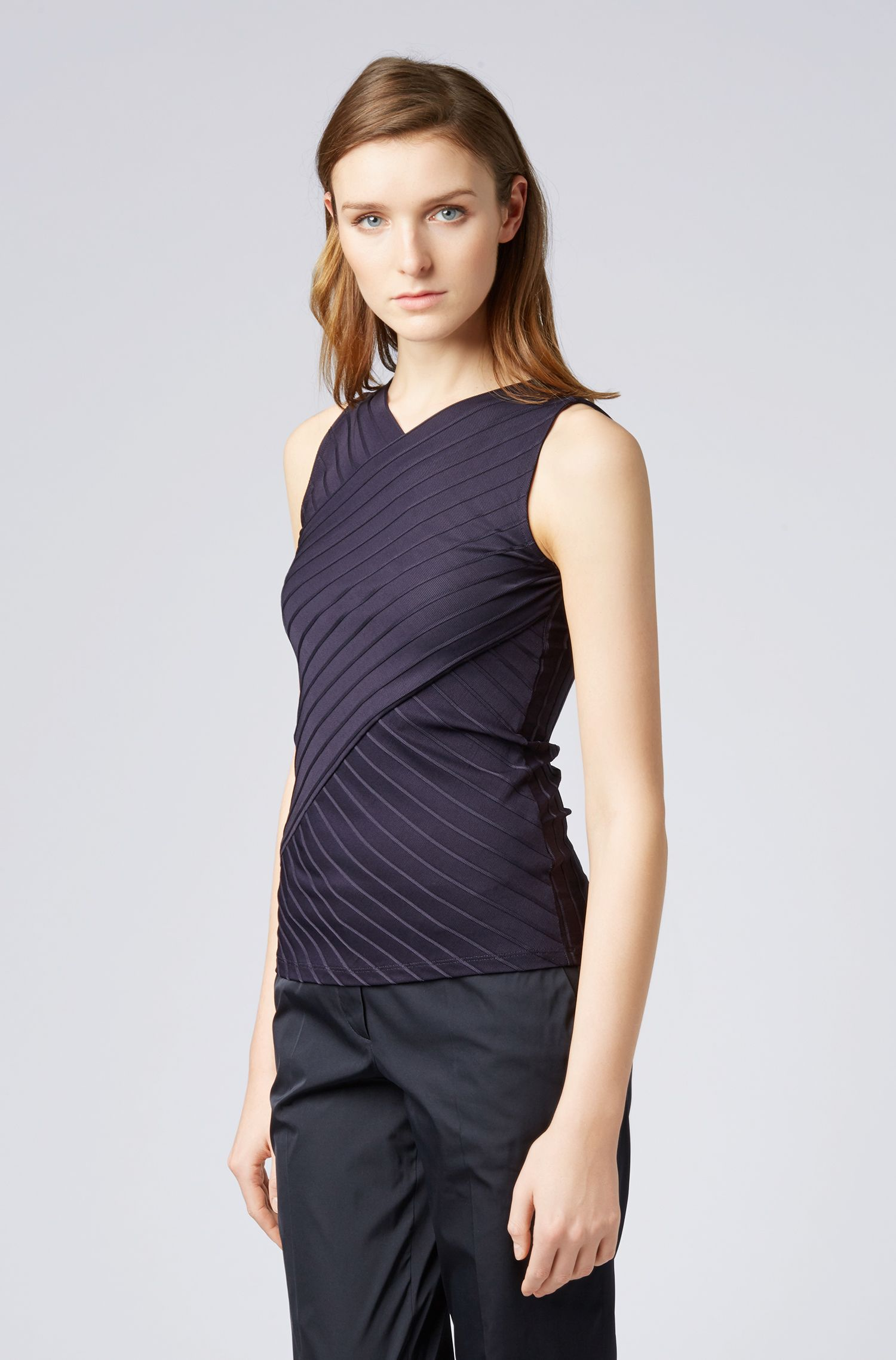 Slim-fit top in ribbed fabric with wrap effect, Dark Blue