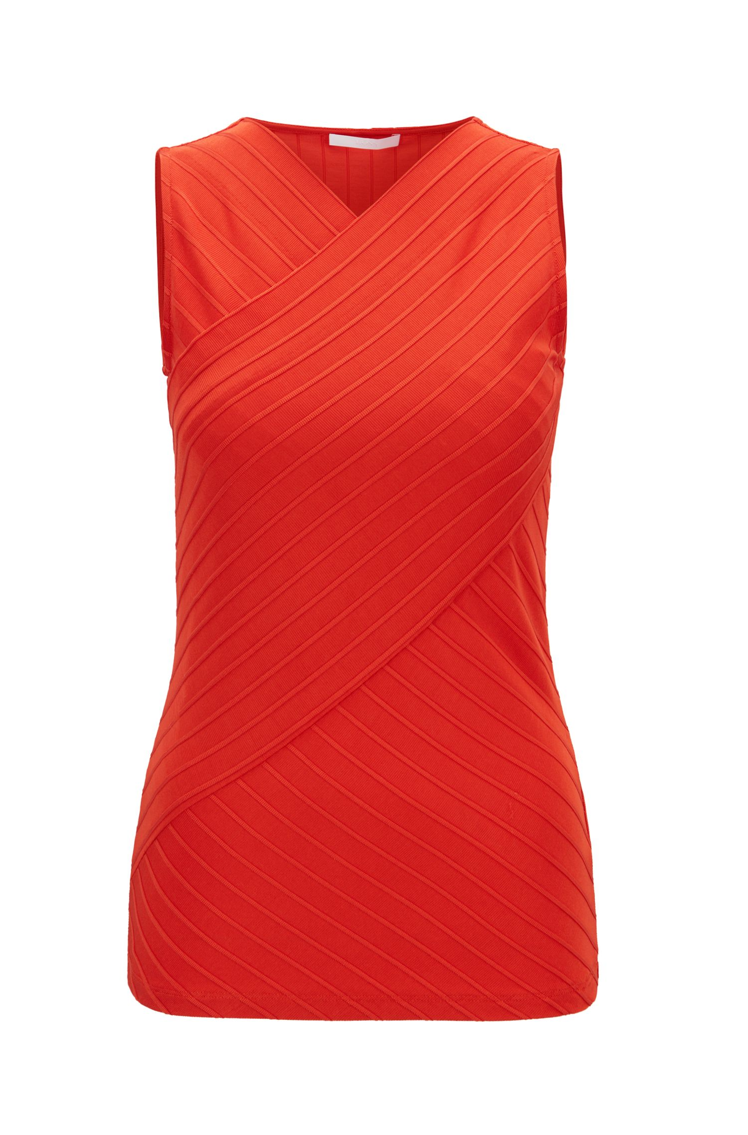 Slim-fit top in ribbed fabric with wrap effect, Red