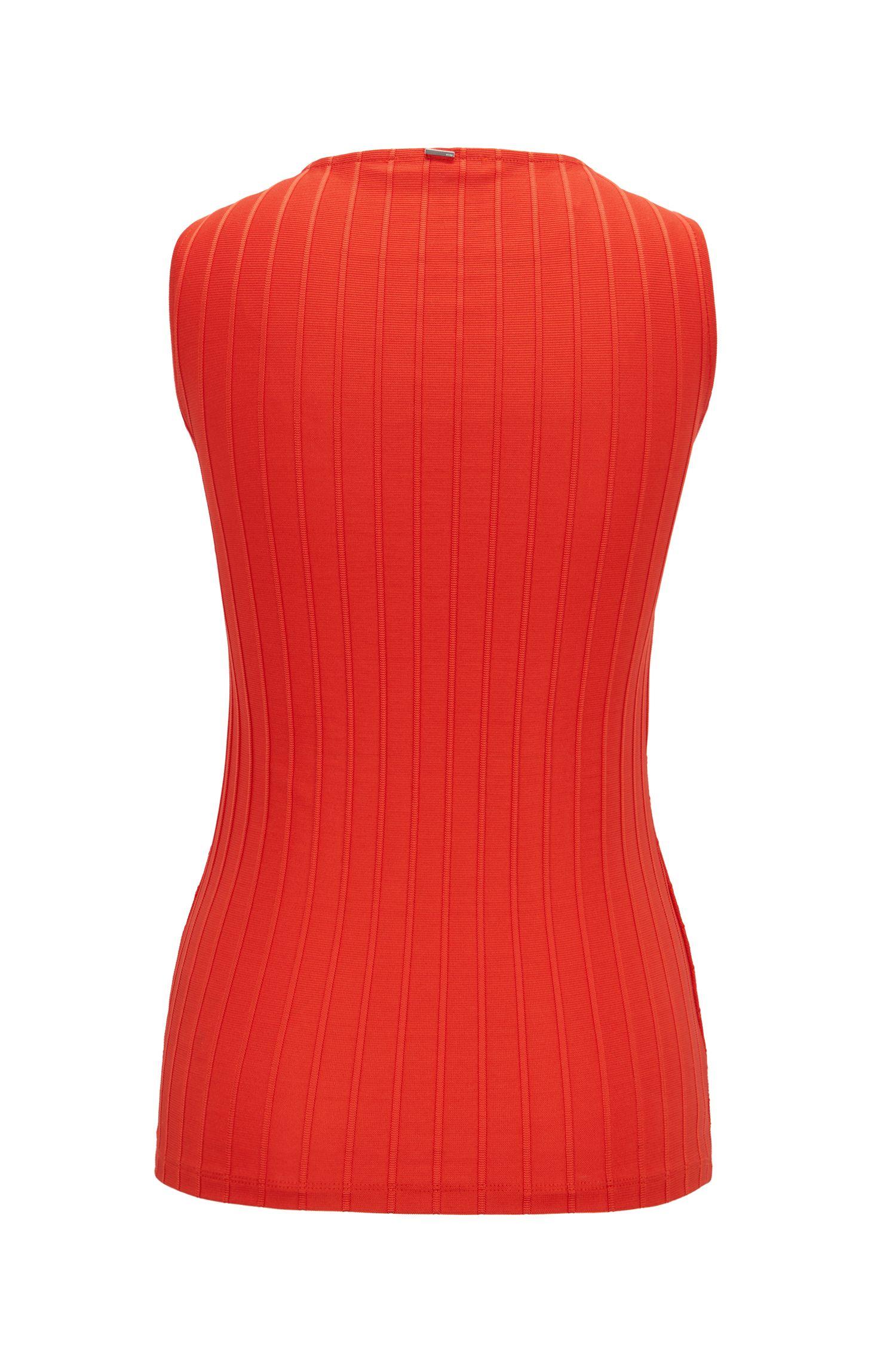 Slim-fit top van geribbeld materiaal met wikkeleffect, Rood