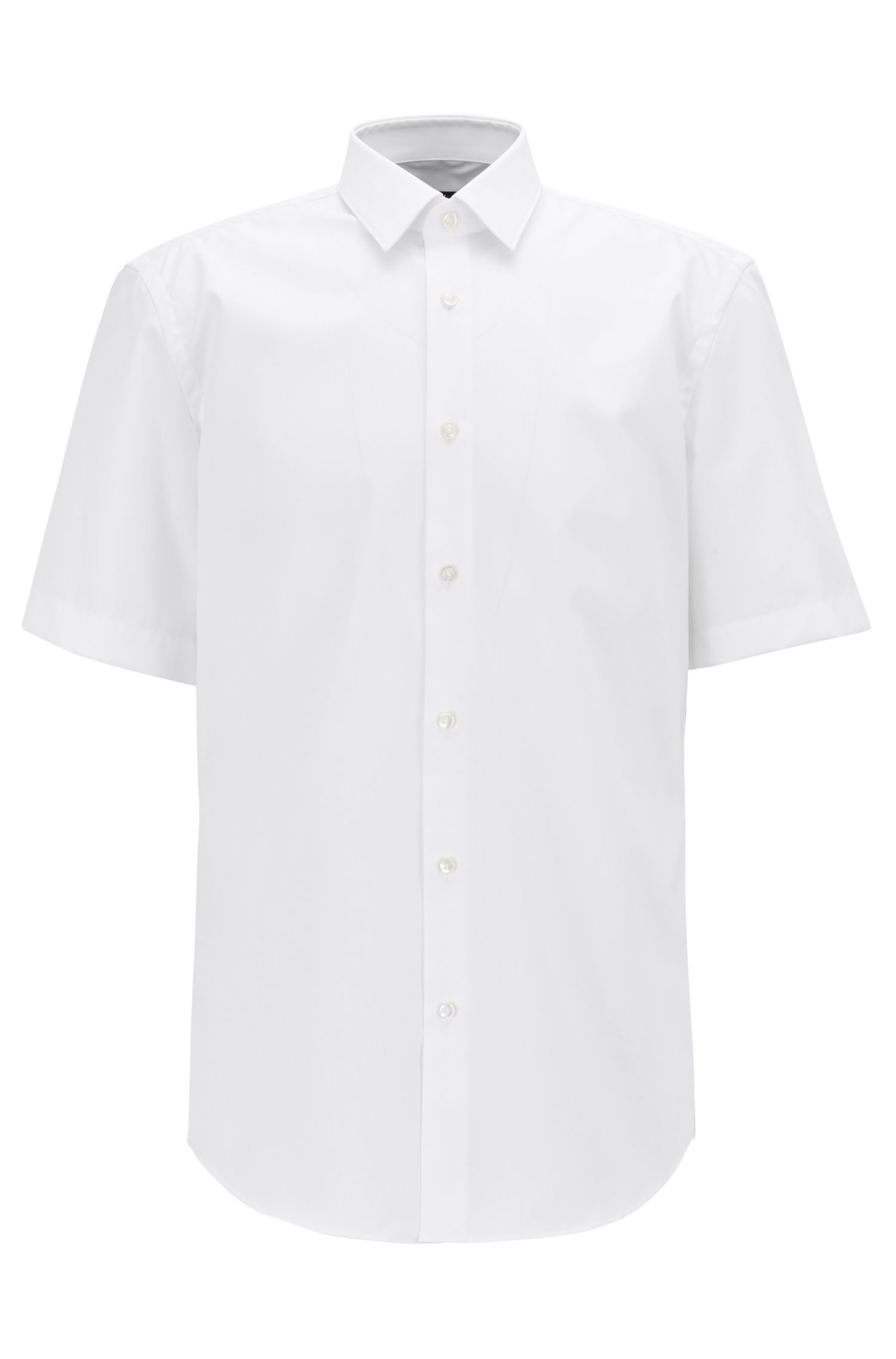 Short-sleeved regular-fit shirt in easy-iron cotton, White