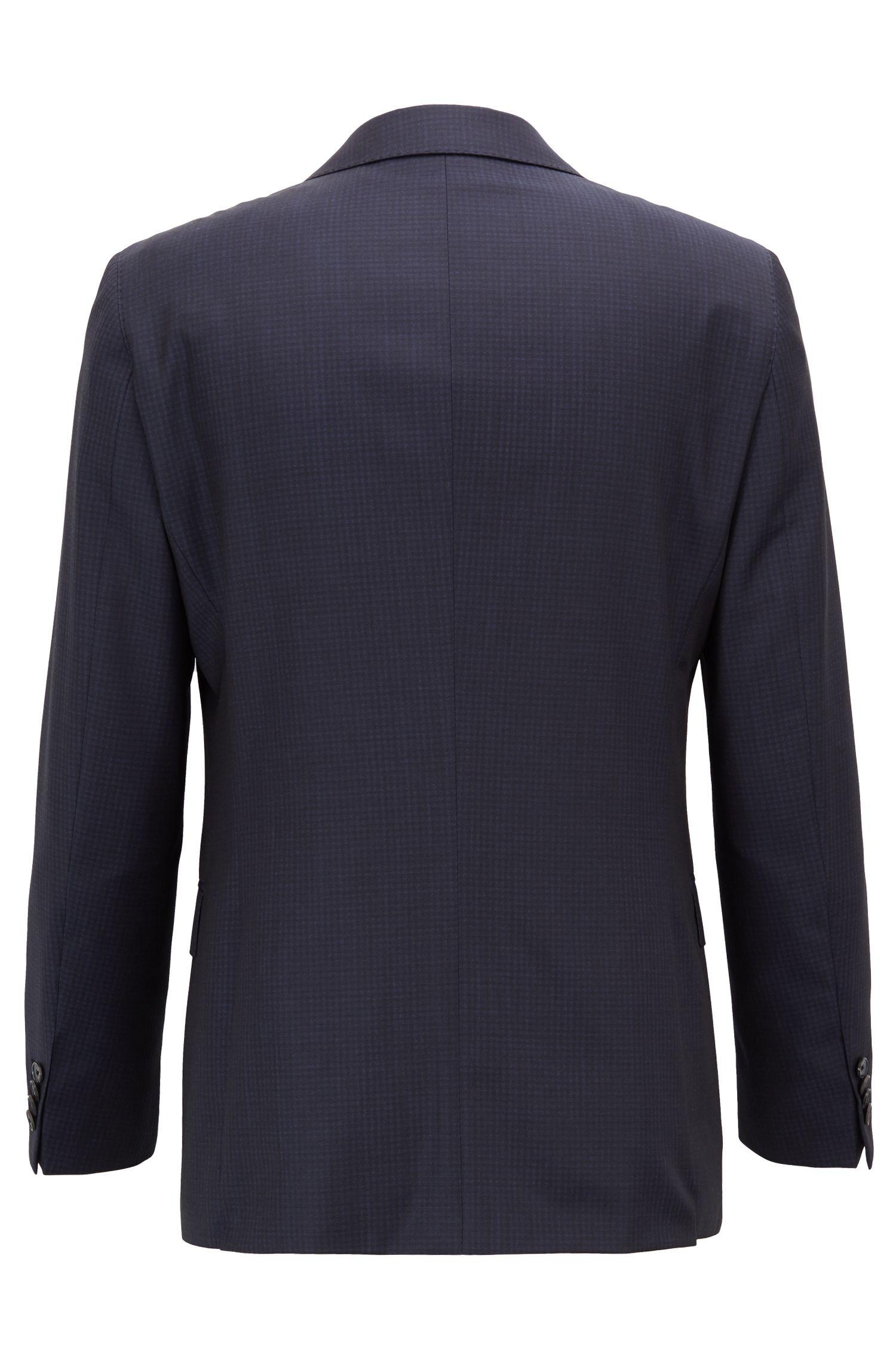 Traje con chaleco slim fit en lana virgen estampada, Azul oscuro