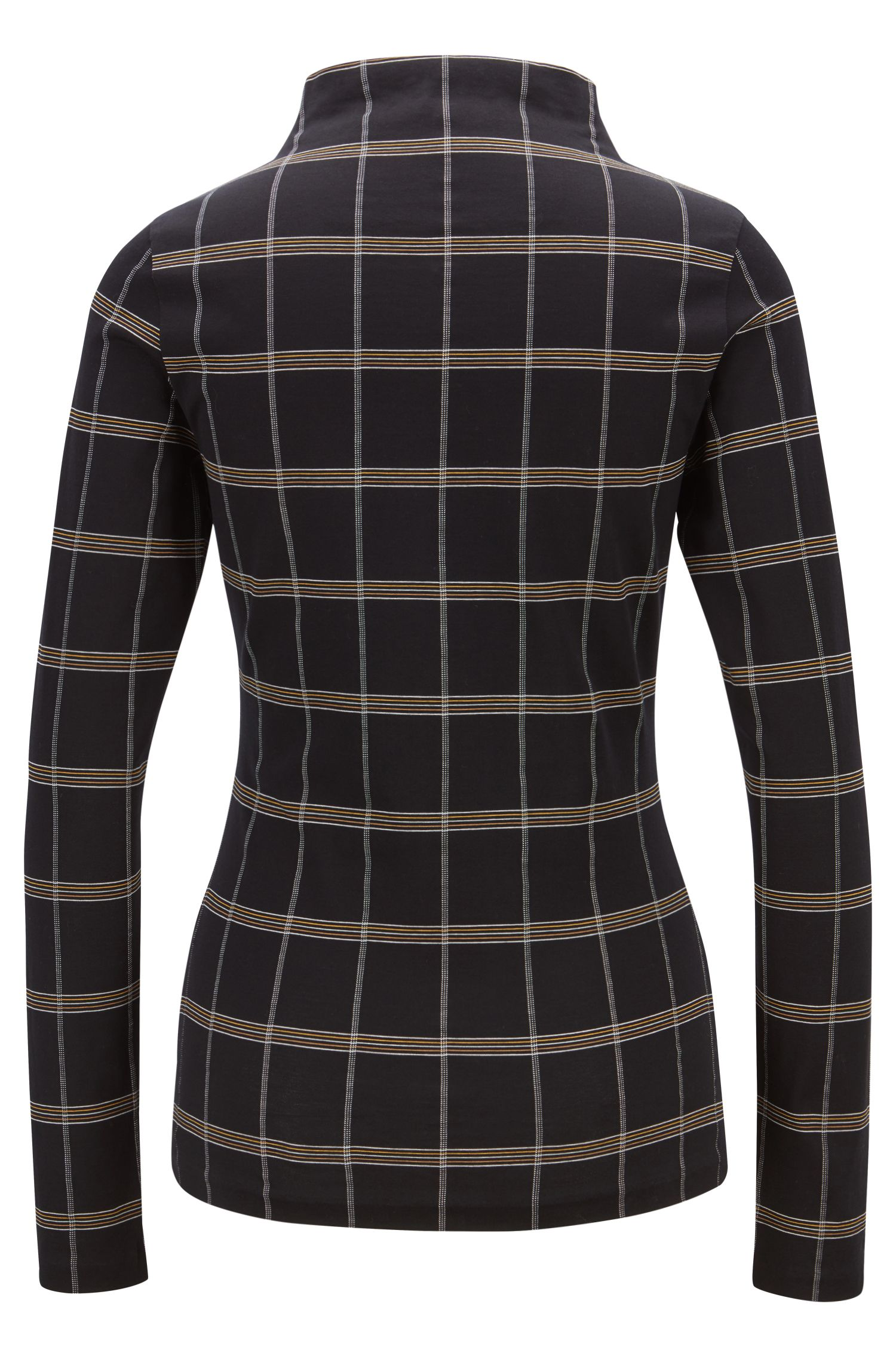 Funnel-neck top in checked jersey jacquard, Patterned