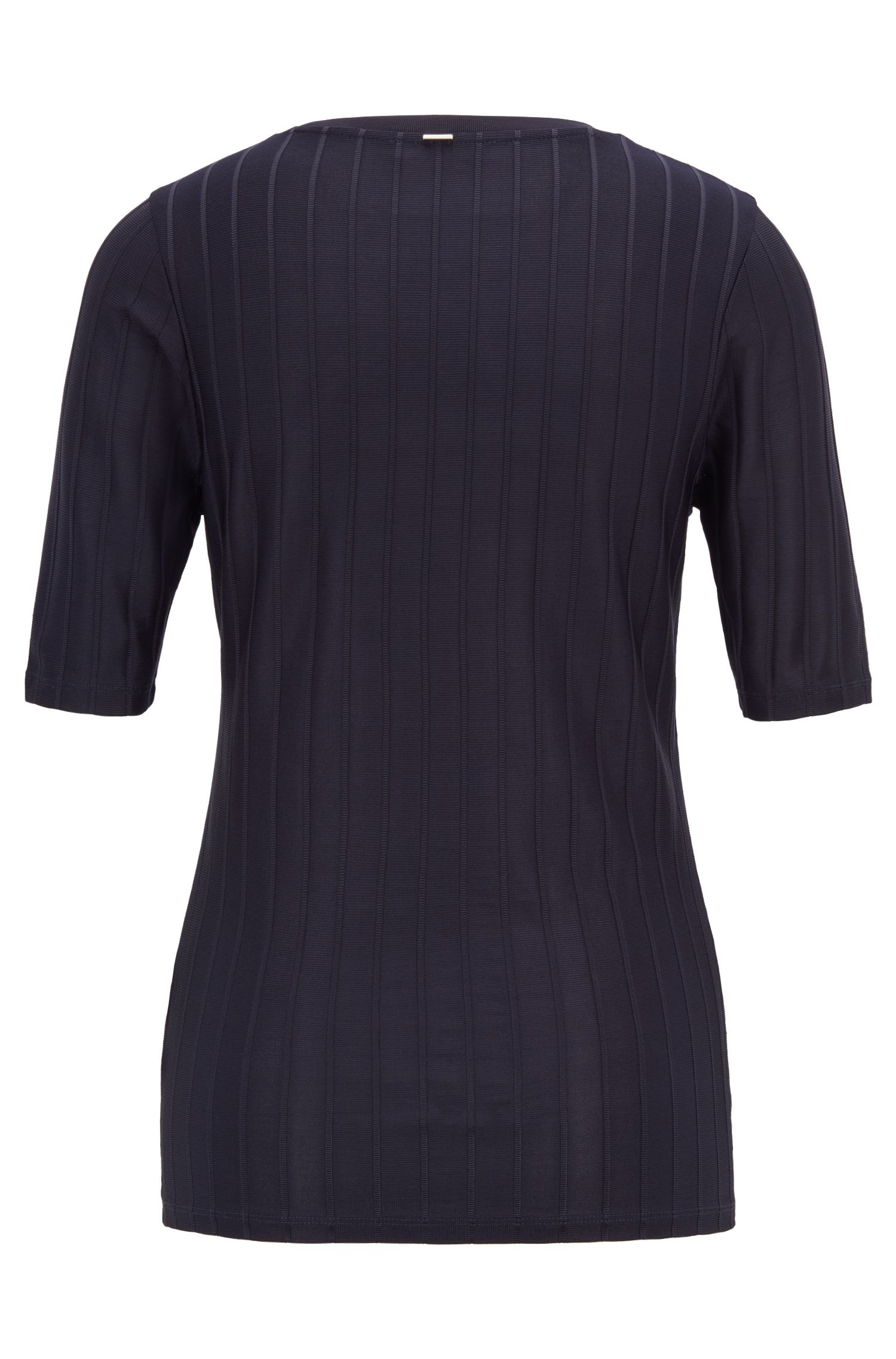 Slim-fit top in lustrous rib jersey with stretch, Dark Blue
