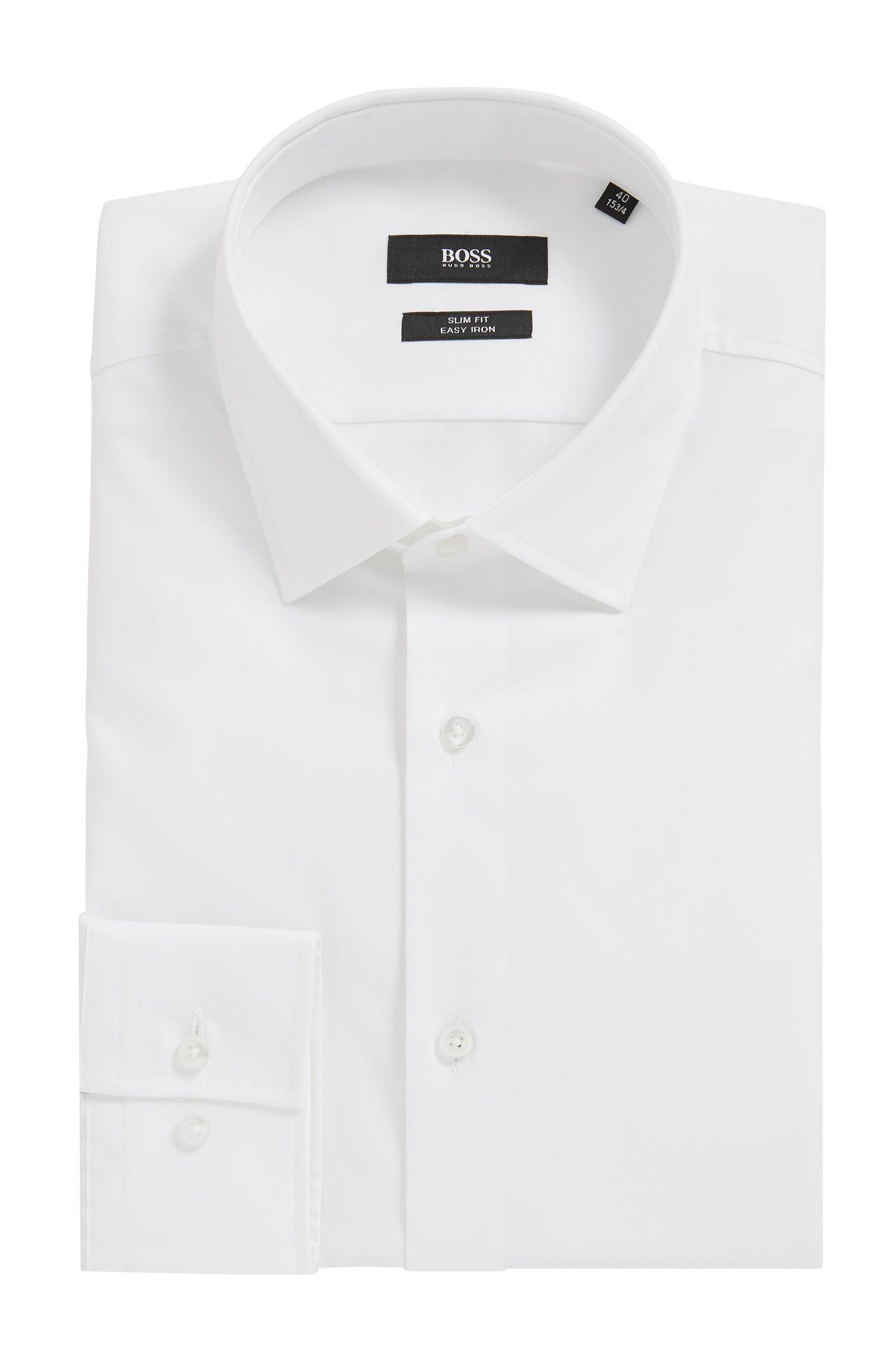 Slim-Fit Hemd aus Baumwolle mit bügelleichtem Finish, Weiß