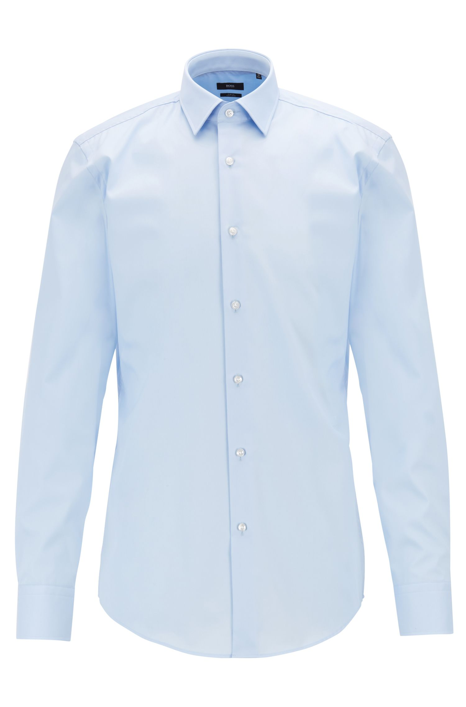 Slim-fit cotton shirt with easy-iron finishing, Light Blue