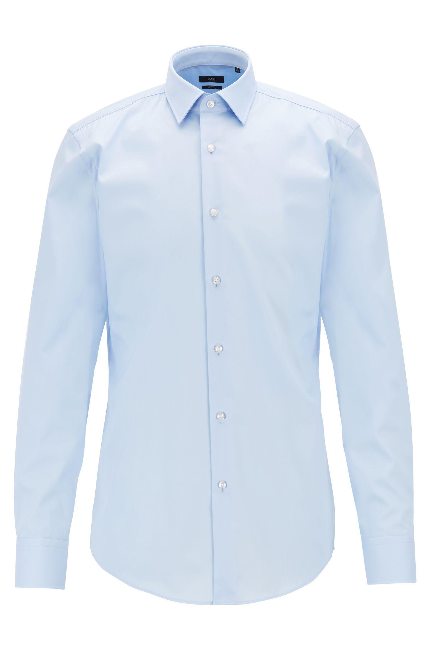 Slim-Fit Hemd aus Baumwolle mit bügelleichtem Finish, Hellblau