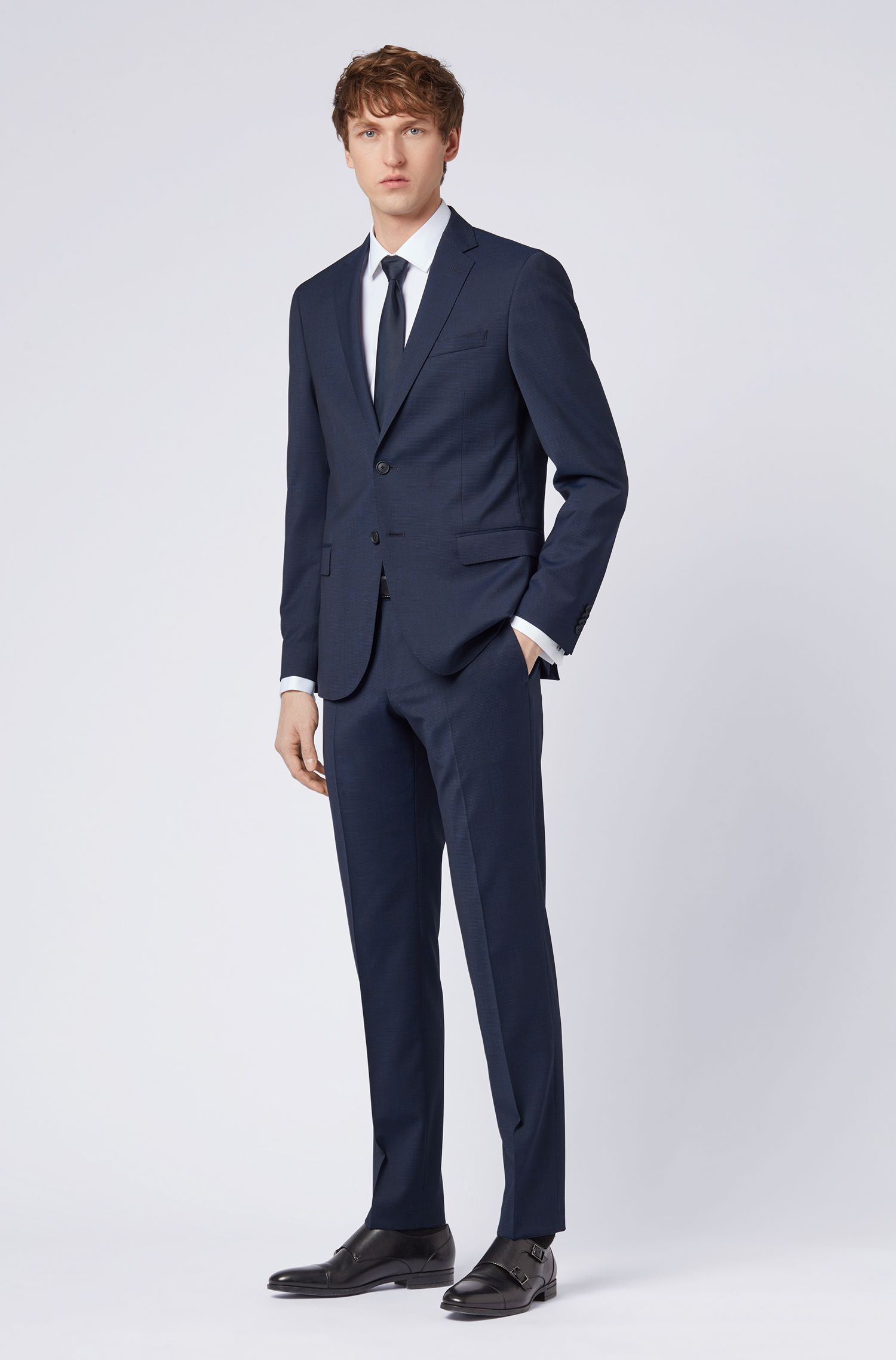 Travel Line slim-fit suit in micro-pattern stretch wool, Open Blue