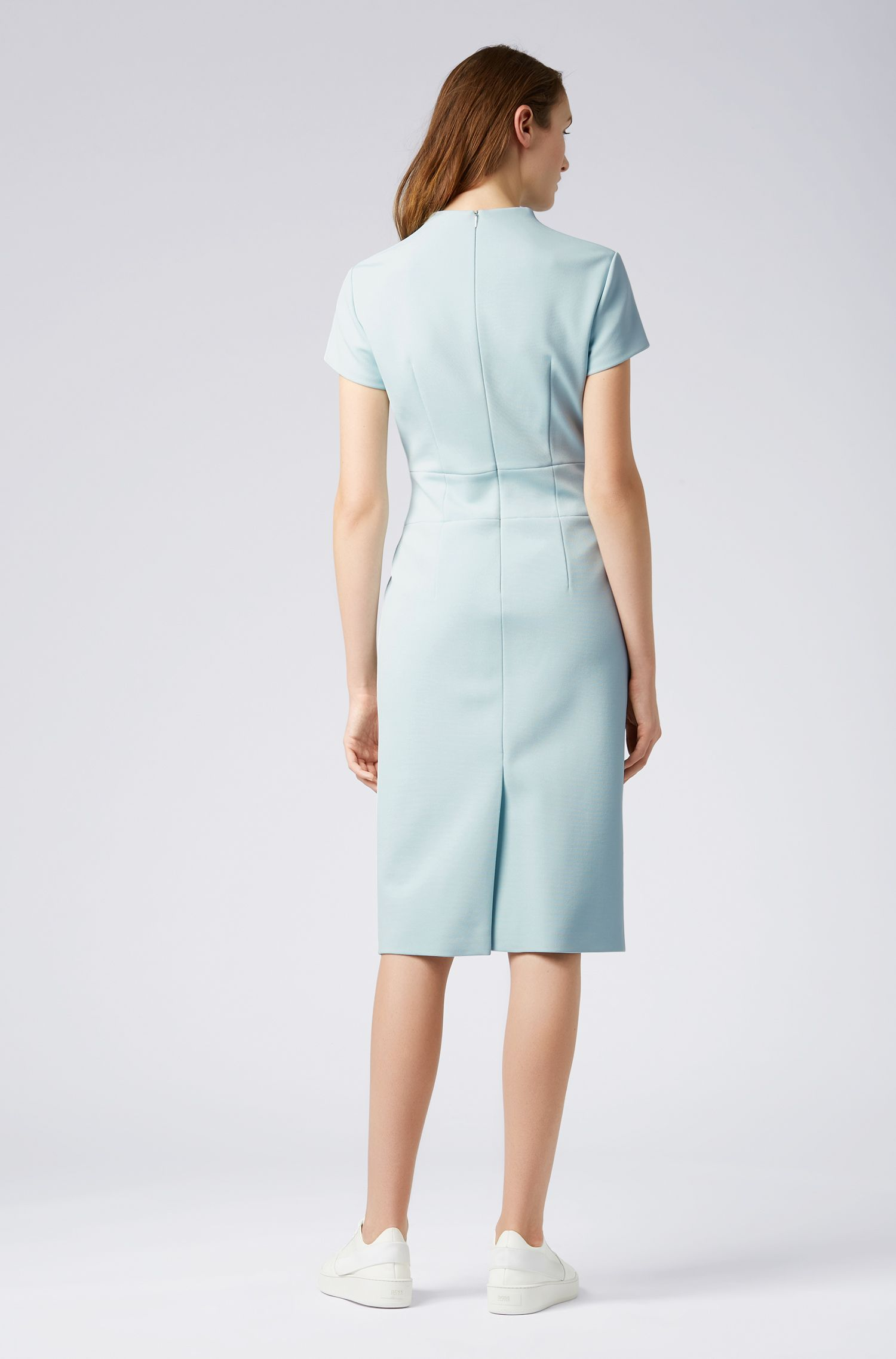 Slim-fit dress with mock-neck in Italian jersey, Light Blue