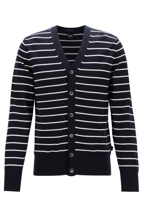 532a1909f BOSS - Regular-fit striped cardigan in knitted cotton