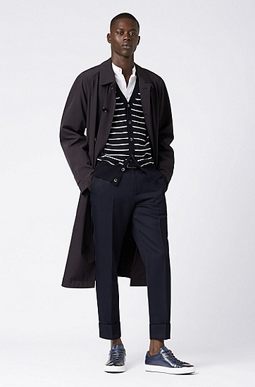 男士休闲条纹V领针织开衫,  402_暗蓝色