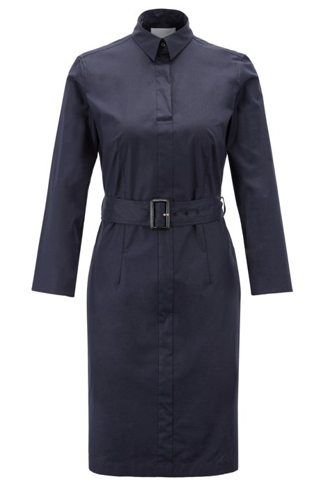 Robe-chemise à ceinture en coton stretch avec col en pointes, Bleu foncé