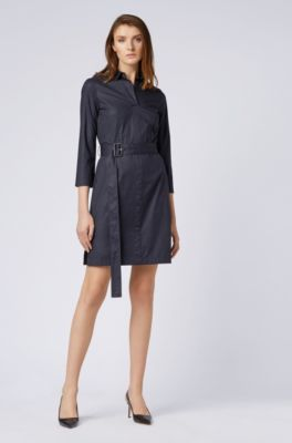 9fb4232cc BOSS - Belted shirt dress in stretch cotton with point collar