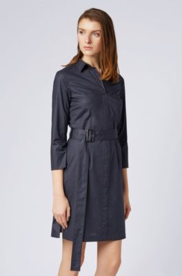 d5cee2db8 BOSS - Belted shirt dress in stretch cotton with point collar