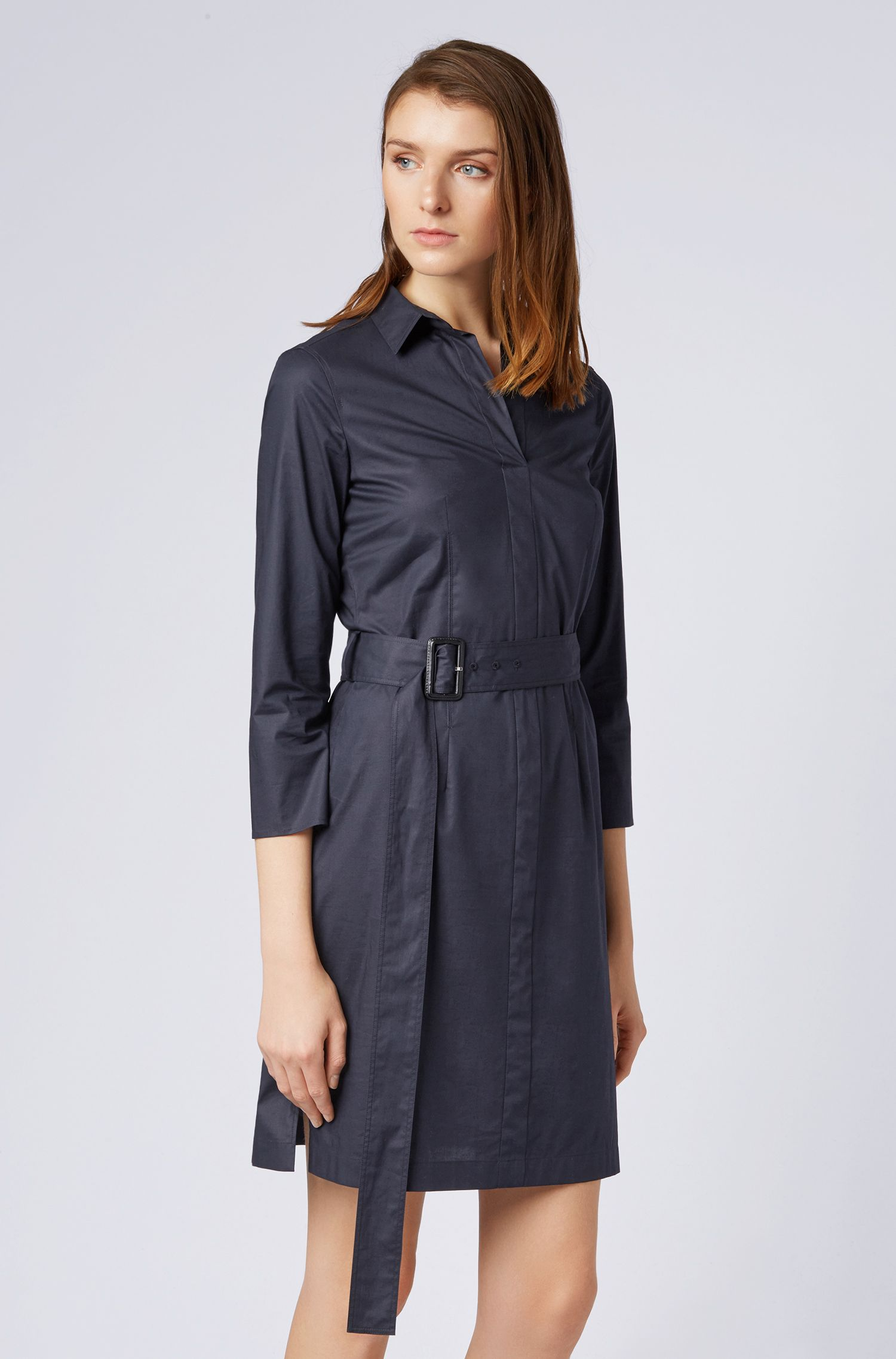 Belted shirt dress in stretch cotton with point collar, Dark Blue