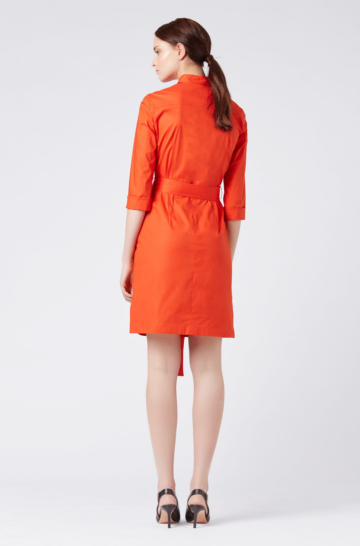 Belted shirt dress in stretch cotton with point collar, Red