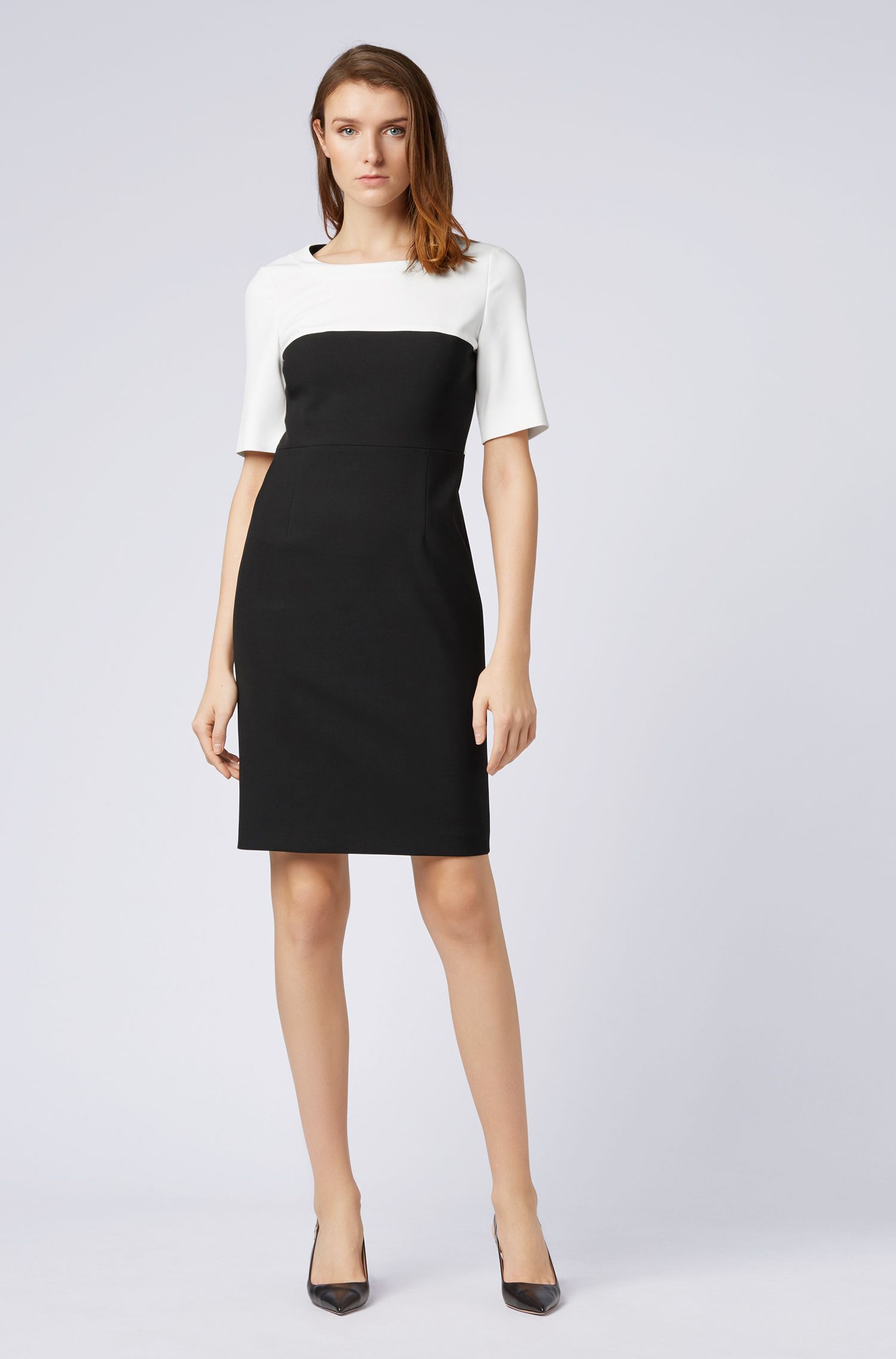 Regular-fit colour-block dress in Portuguese fabric, Black