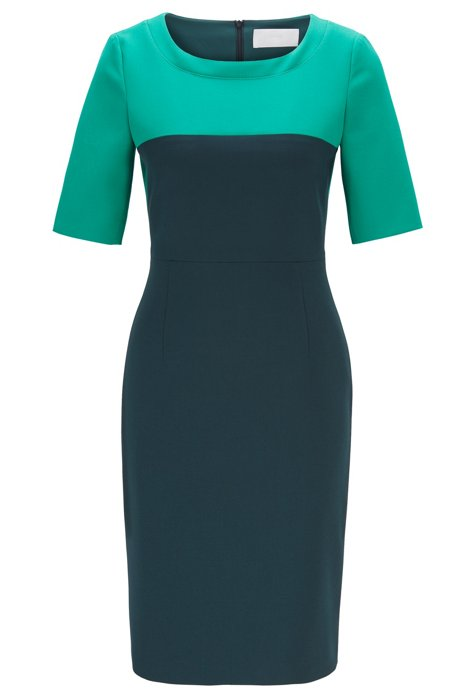 Regular-fit colour-block dress in Portuguese fabric, Dark Green