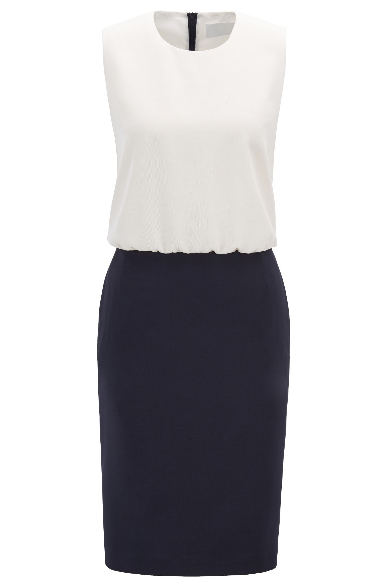 Colour-block shift dress with stretch-wool skirt, Dark Blue