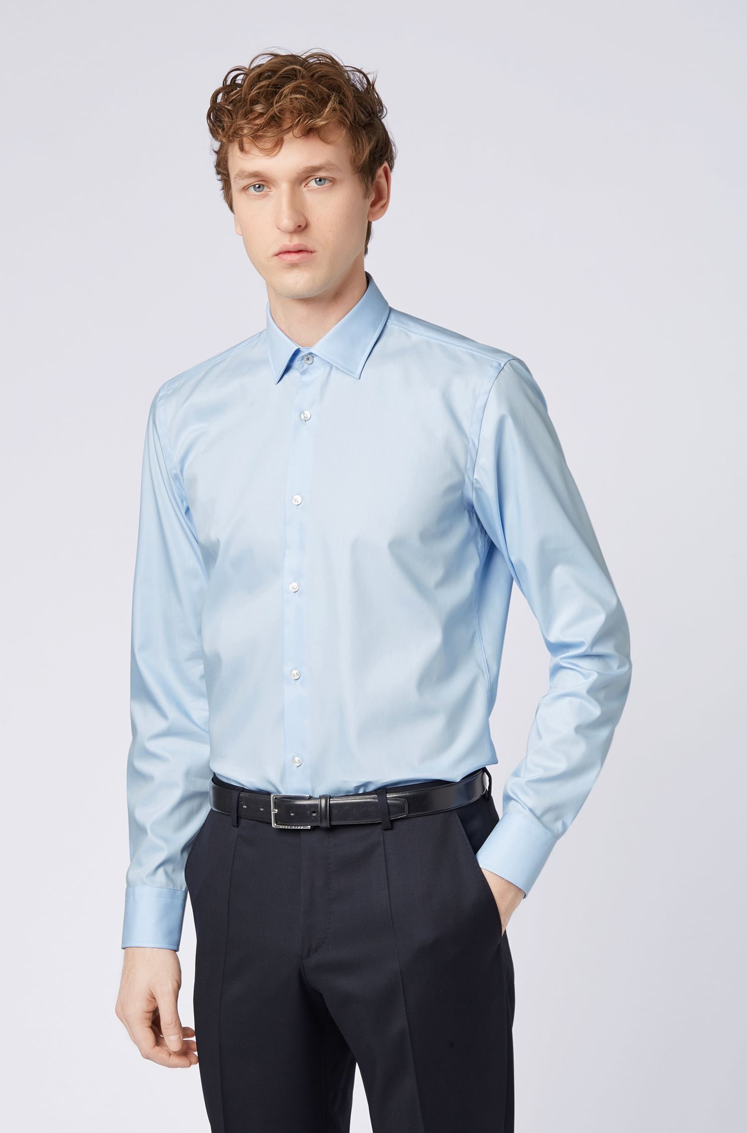 Easy-iron slim-fit shirt with contrast inner trims, Light Blue
