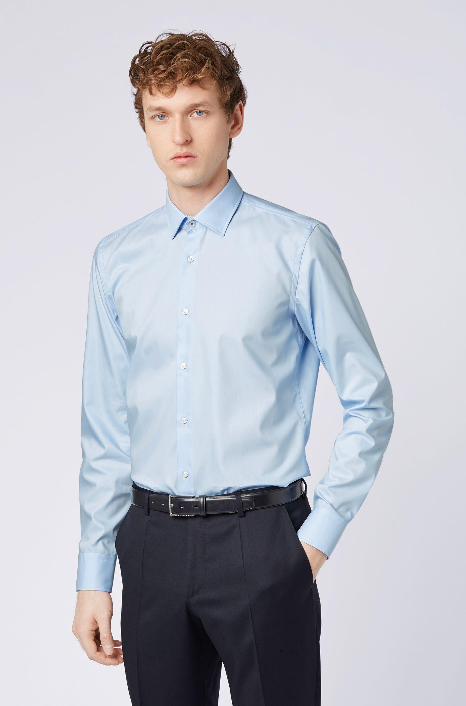 Camisa slim fit de planchado fácil con apliques en contraste en el interior, Celeste
