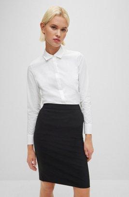Regular-Fit Bluse aus elastischer Baumwoll-Popeline, Weiß
