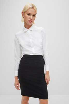 Regular-fit blouse in stretch-cotton poplin, White