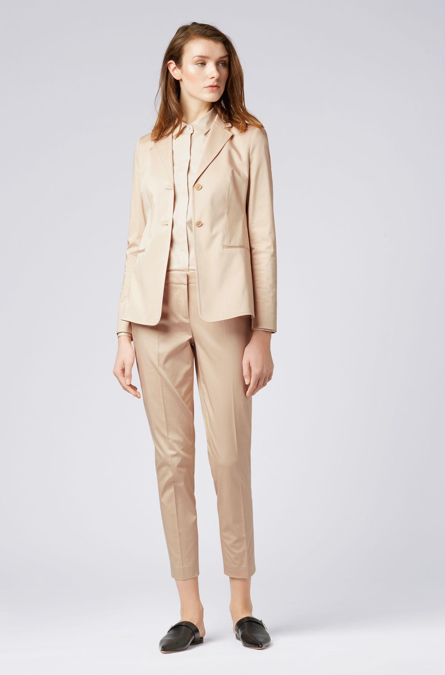 Regular-Fit Bluse aus elastischer Baumwoll-Popeline, Hellbeige