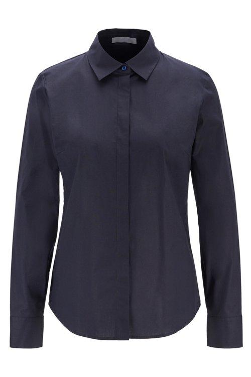 Hugo Boss - Regular-Fit Bluse aus elastischer Baumwoll-Popeline - 1