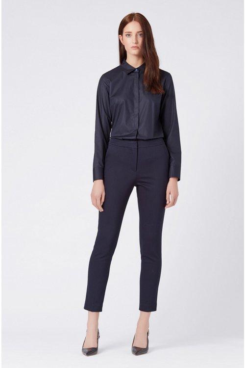 Hugo Boss - Regular-Fit Bluse aus elastischer Baumwoll-Popeline - 2