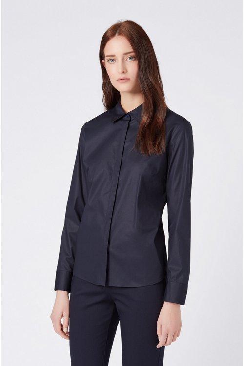 Hugo Boss - Regular-Fit Bluse aus elastischer Baumwoll-Popeline - 4