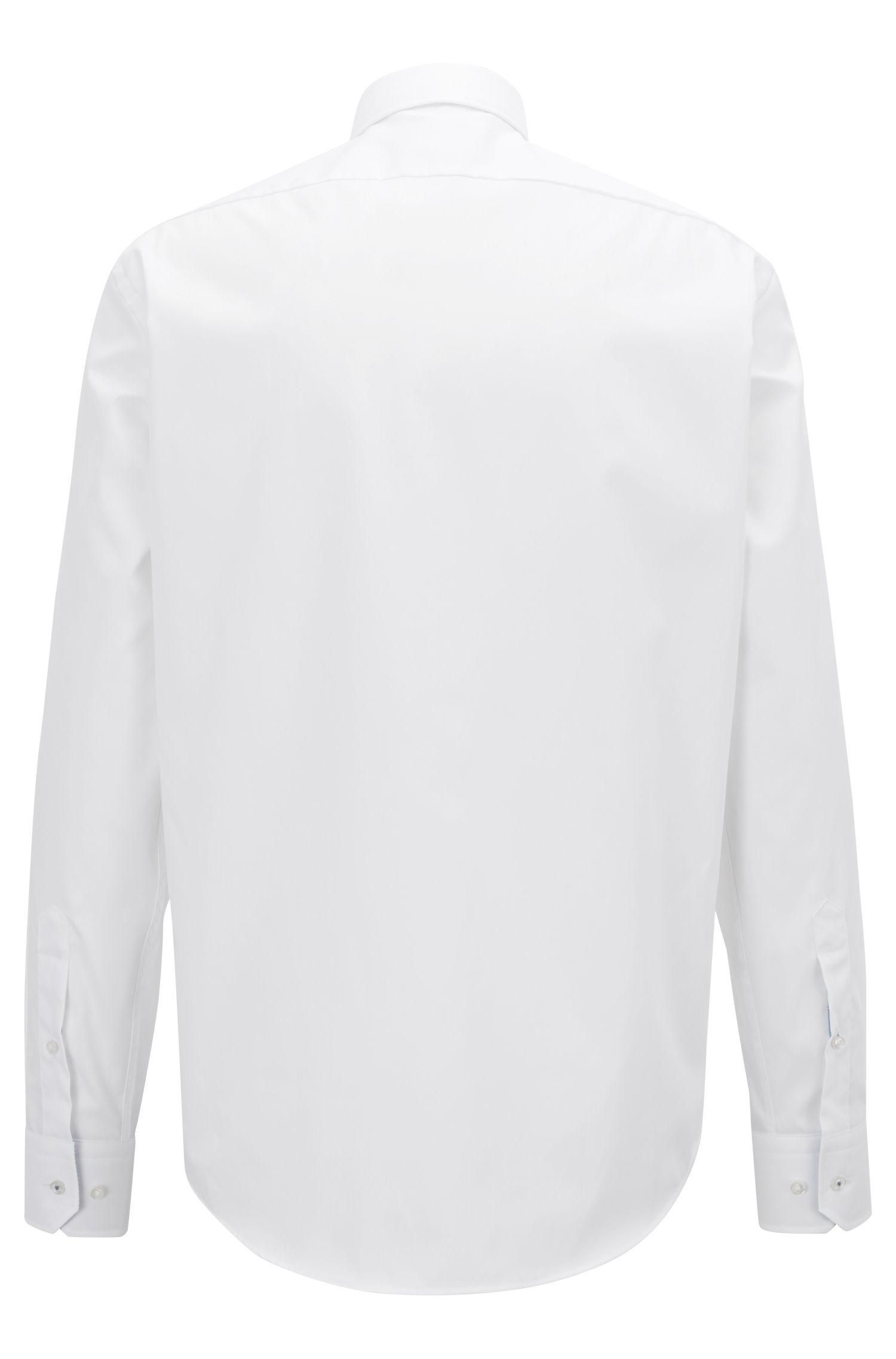 Chemise Regular Fit en coton facile à repasser, avec détails contrastants à l'intérieur, Blanc