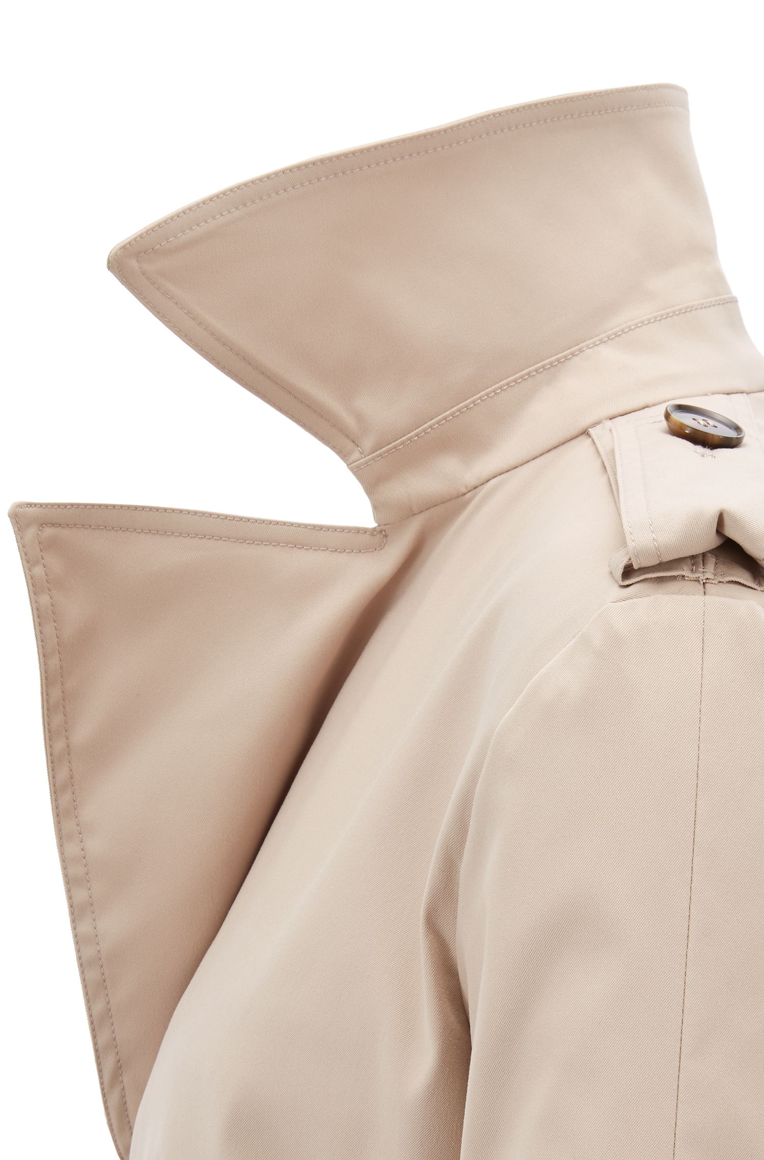 Double-breasted trench coat with oversized lapels, Beige