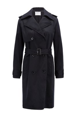 Double-breasted trench coat with oversized lapels, Dark Blue