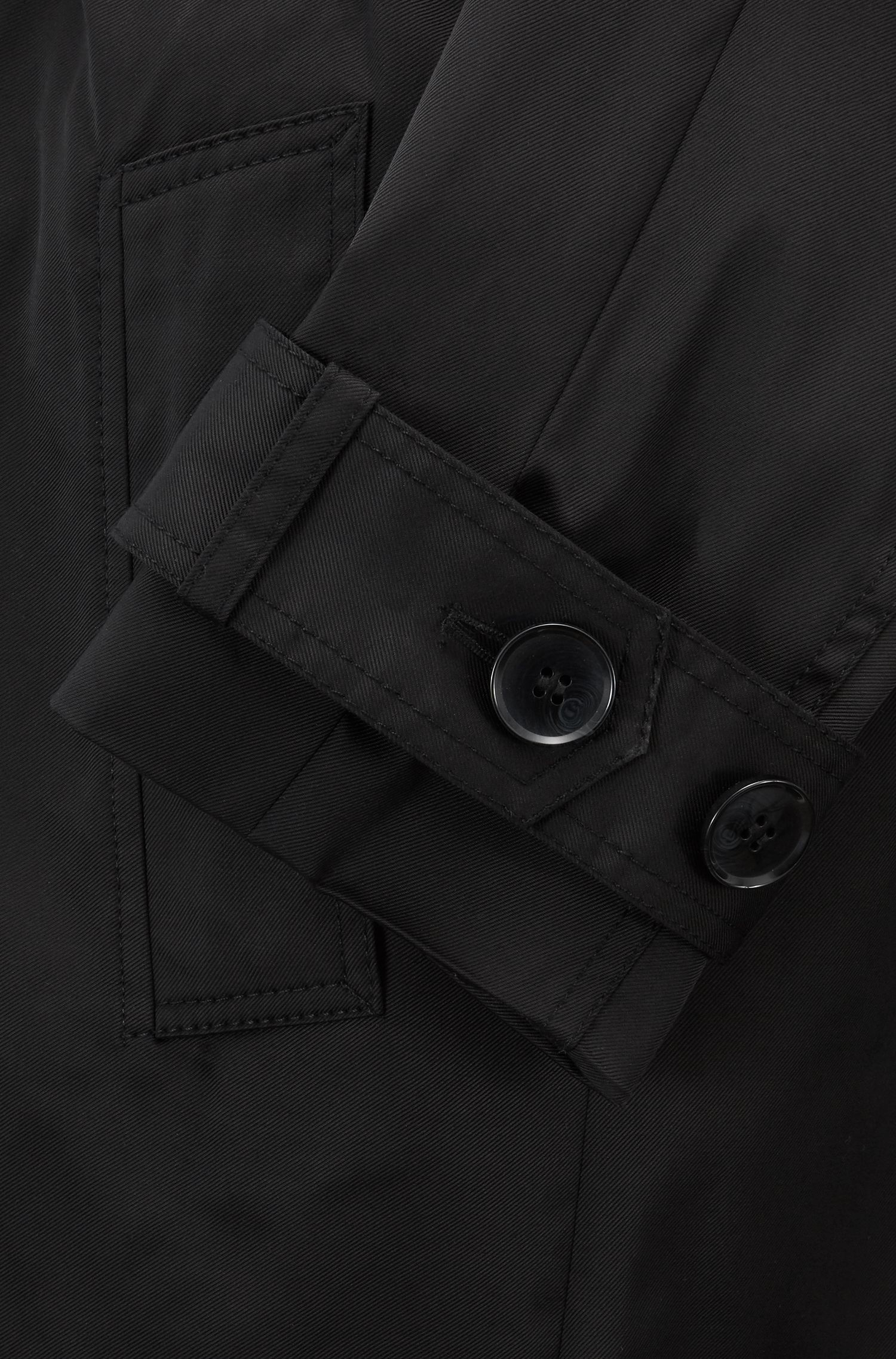 Double-breasted trench coat in water-repellent twill, Black