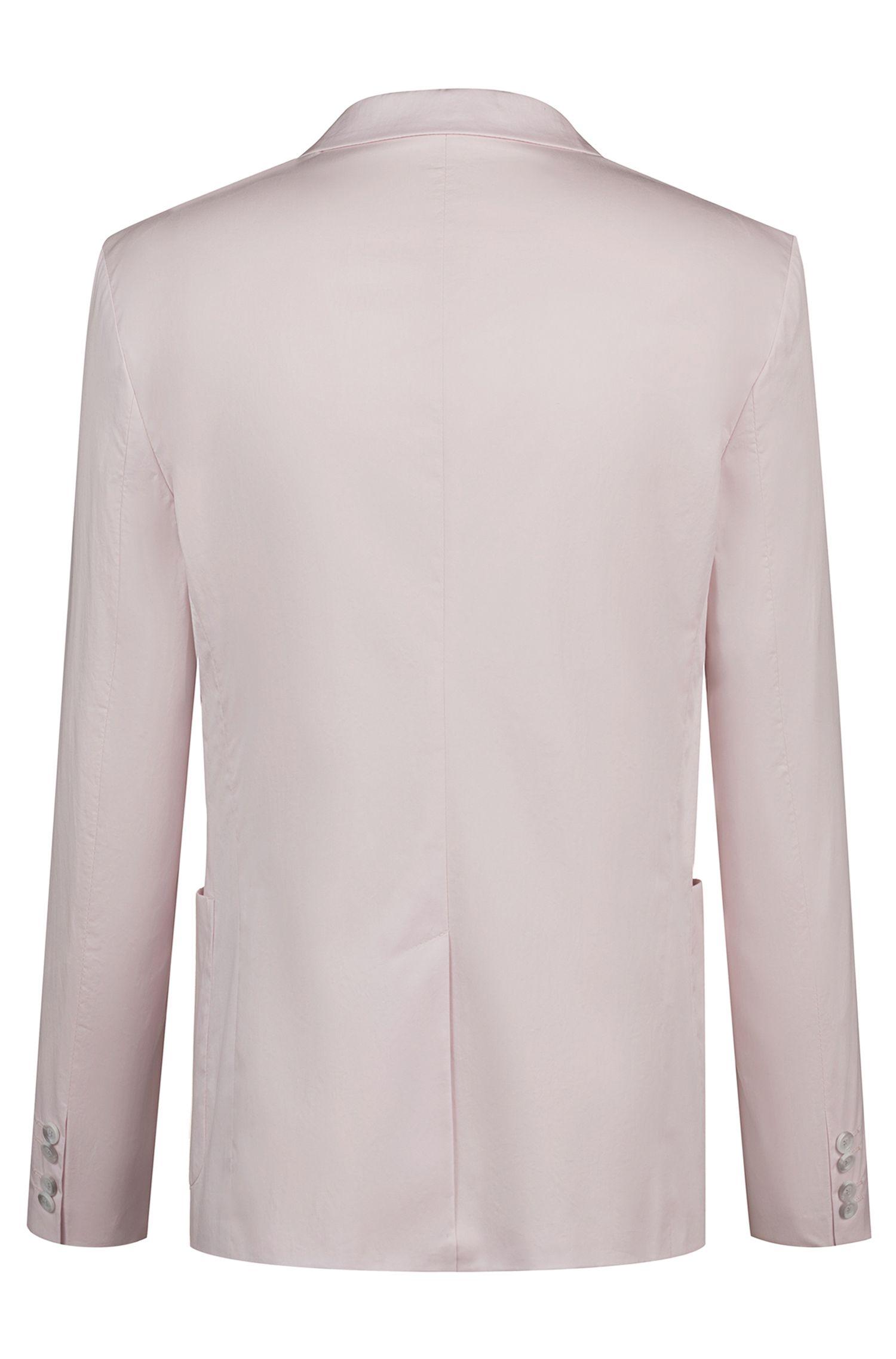 Chaqueta slim fit en algodón elástico con forro con el logo, Rosa claro