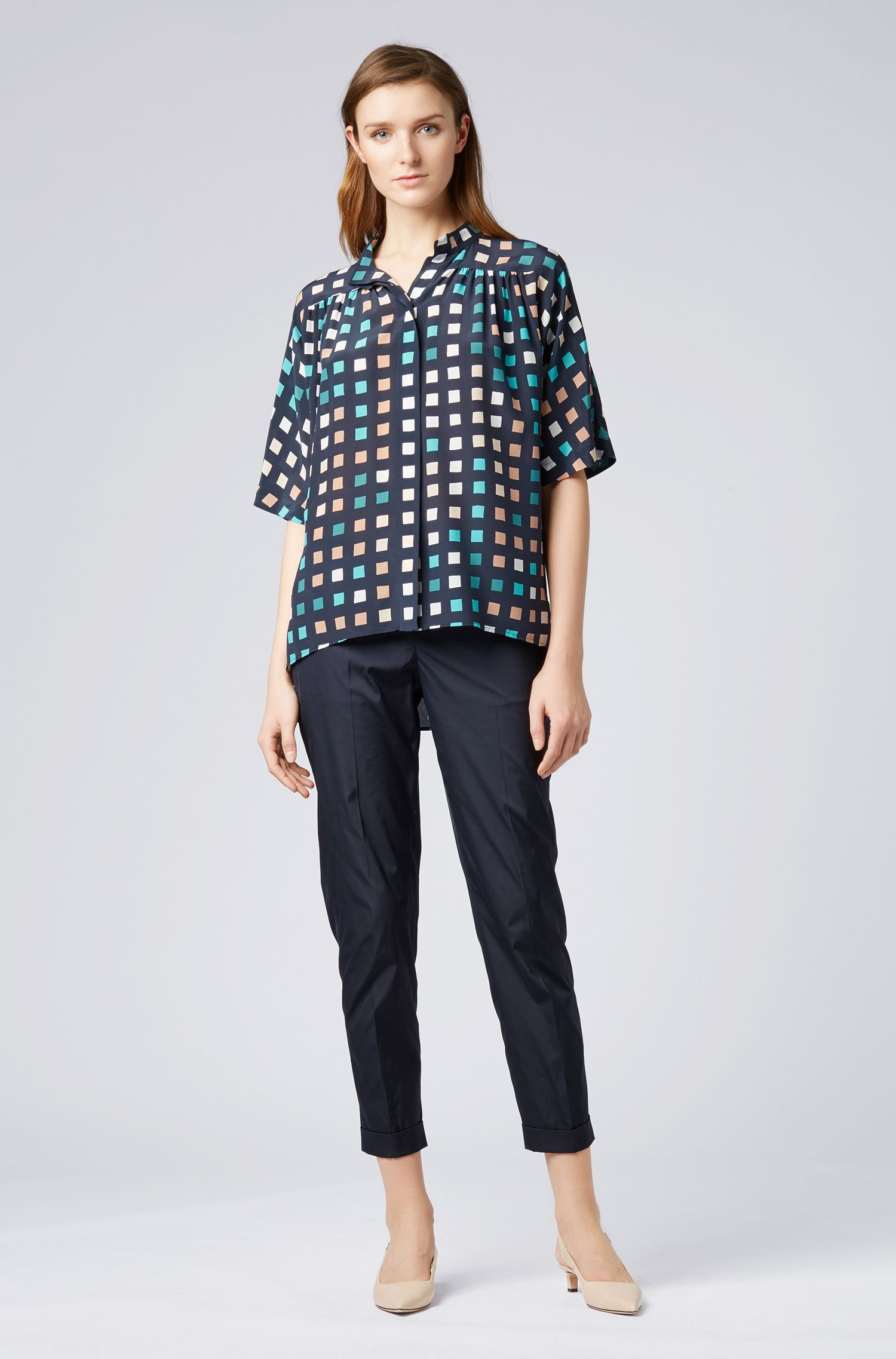 Relaxed-fit silk blouse with exclusive multi-coloured print, Patterned