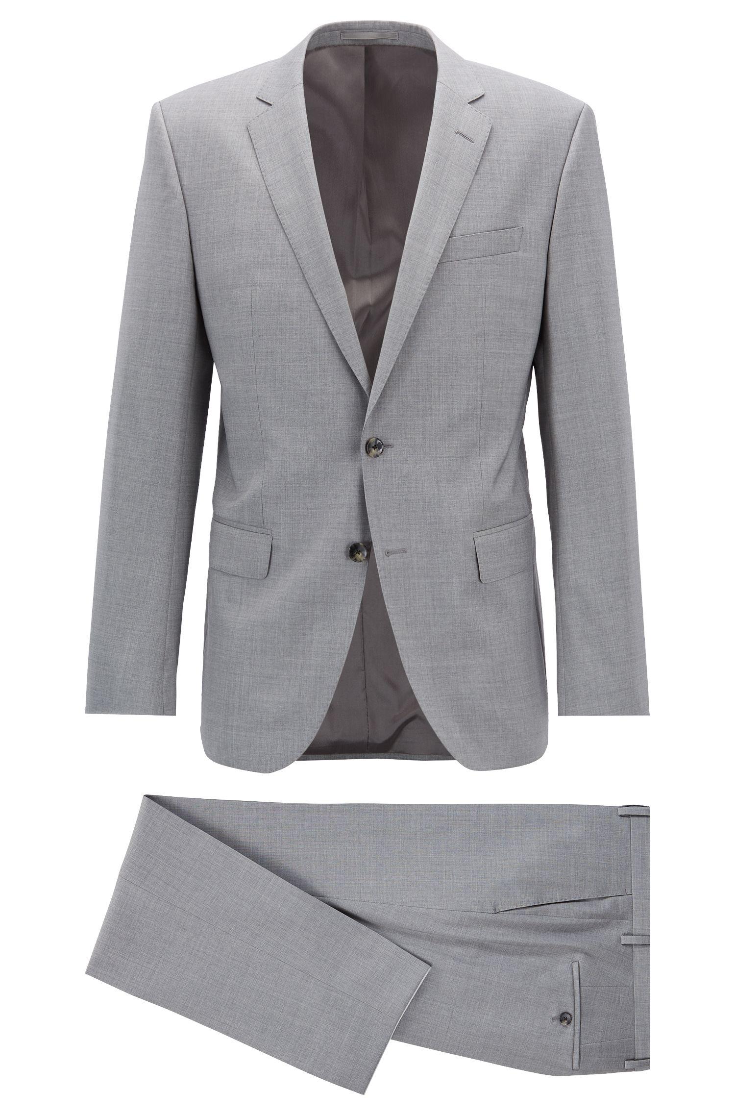 Slim-Fit Anzug aus natürlich elastischer Schurwolle, Grau