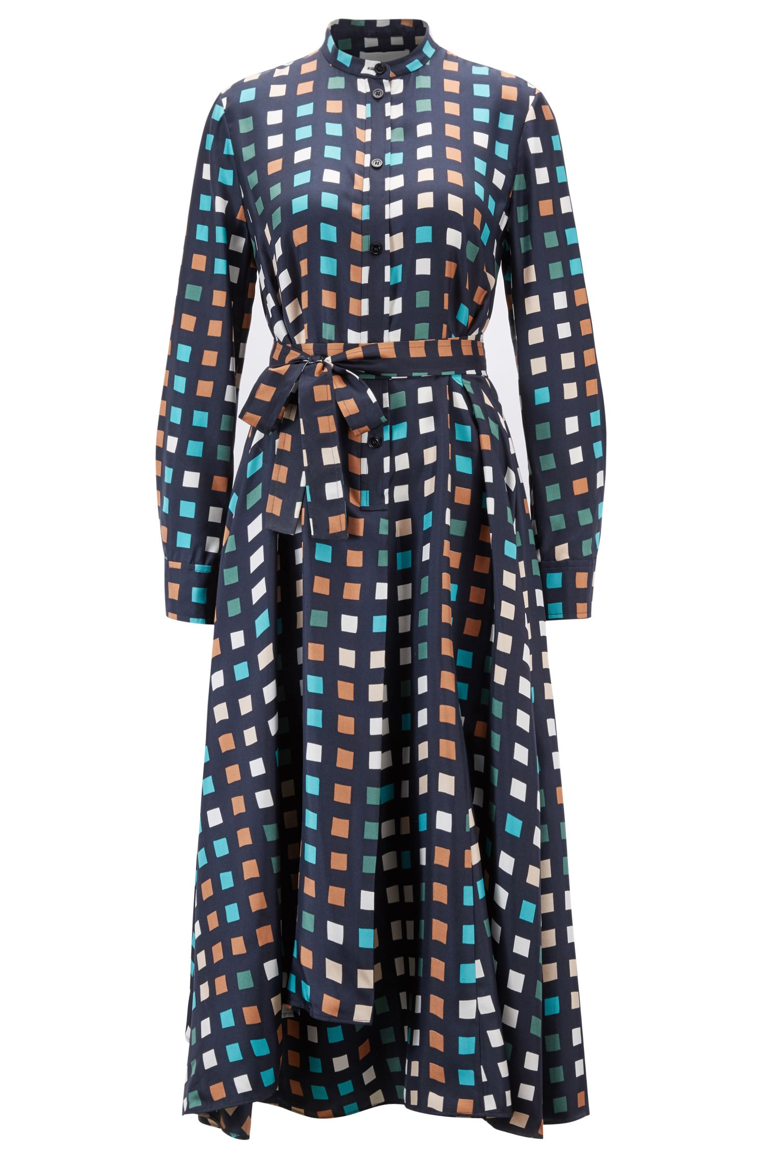 Multi-coloured cube-print shirt dress in silk twill, Patterned